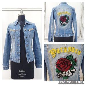 Rare Parasuco Rebel Corset Crystal Denim Jacket